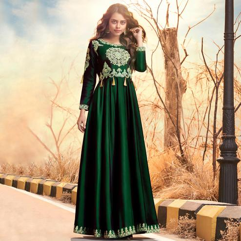 Intricate Dark Green Colored Partywear Embroidered Two Tone Silk Satin Gown