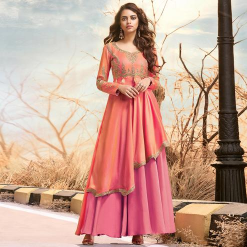 Sophisticated Pink Colored Partywear Embroidered Two Tone Silk Satin Gown
