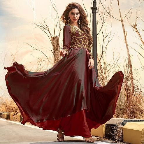 Charming Maroon Colored Partywear Embroidered Two Tone Silk Satin Gown