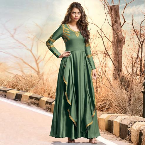 Engrossing Green Colored Partywear Embroidered Two Tone Silk Satin Gown