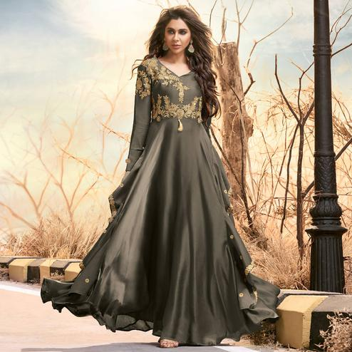 Exceptional Grey Colored Partywear Embroidered Two Tone Silk Satin Gown
