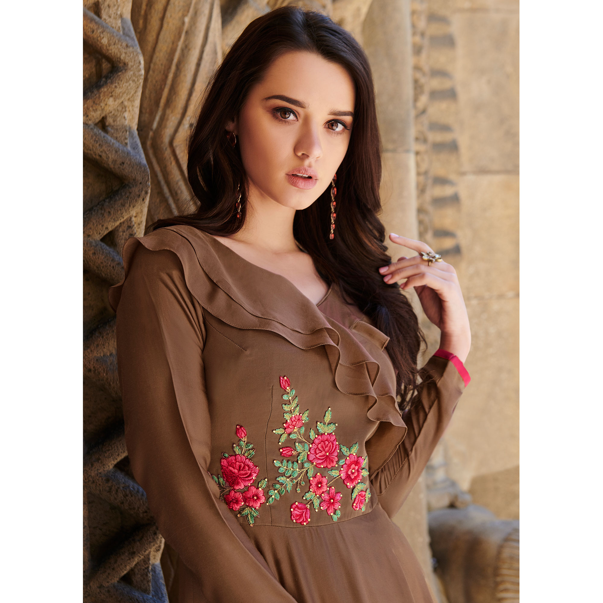 Adorning Brown Colored Partywear Embroidered Silk Satin Gown
