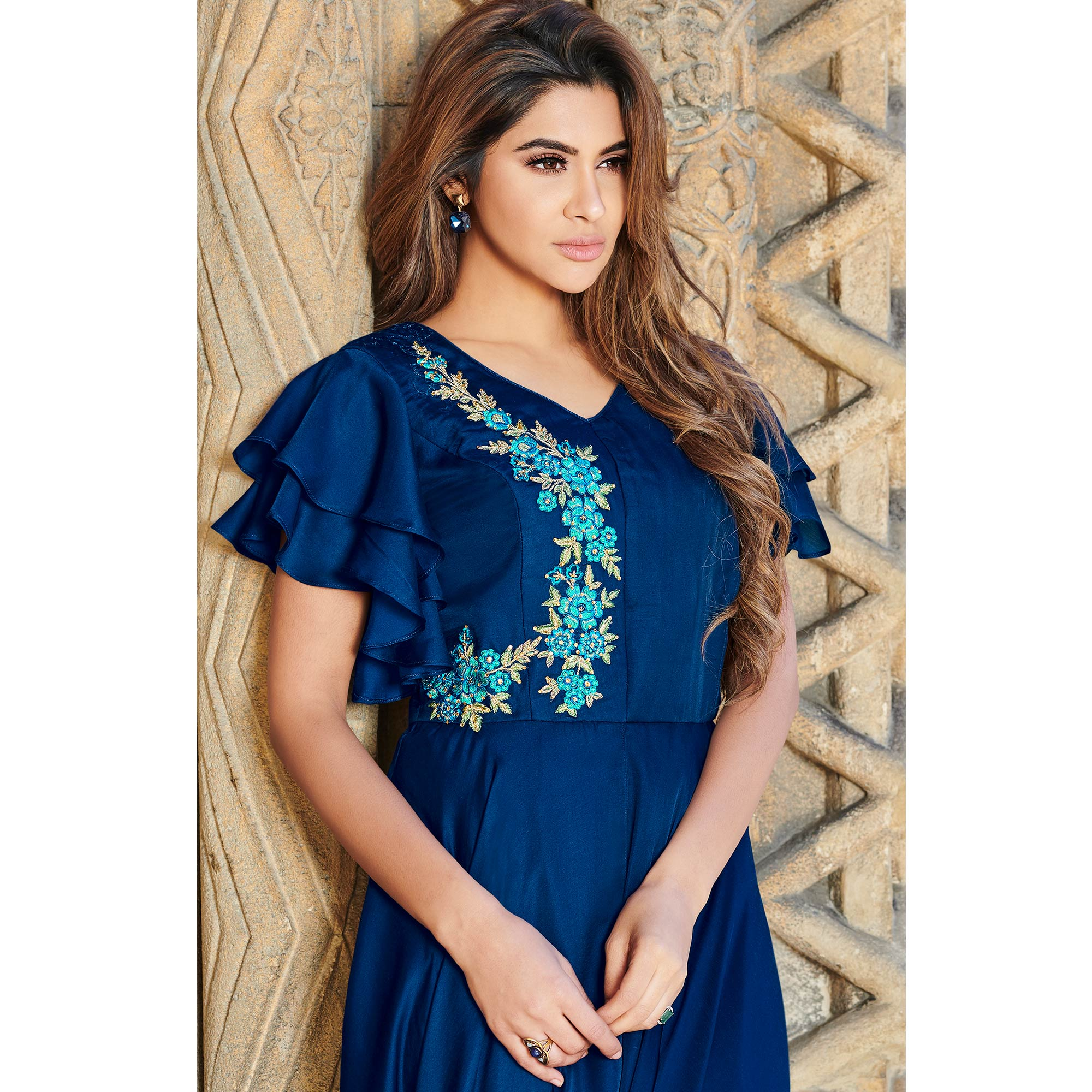 Appealing Royal Blue Colored Partywear Embroidered Silk Satin Gown
