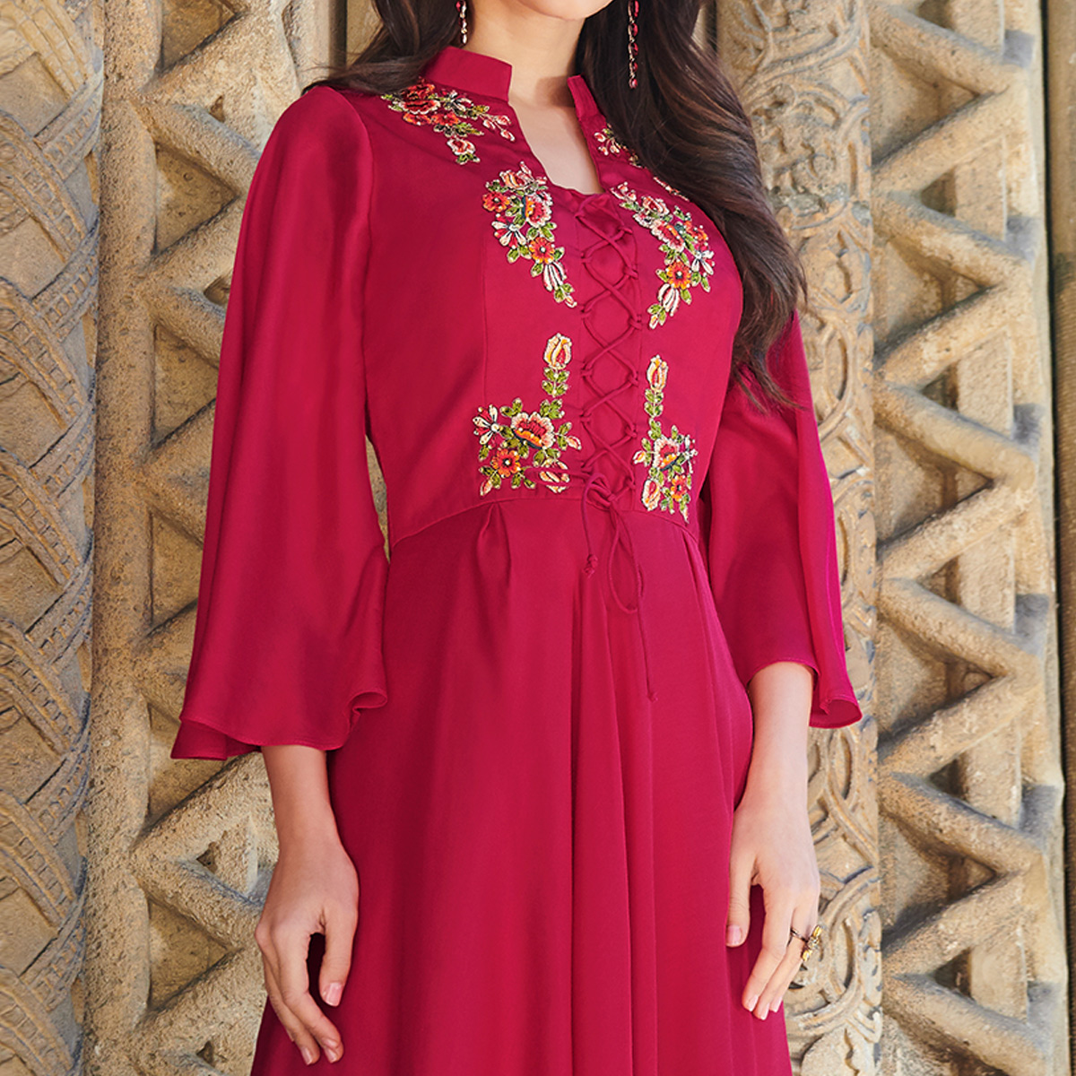Capricious Pink Colored Partywear Embroidered Silk Satin Gown