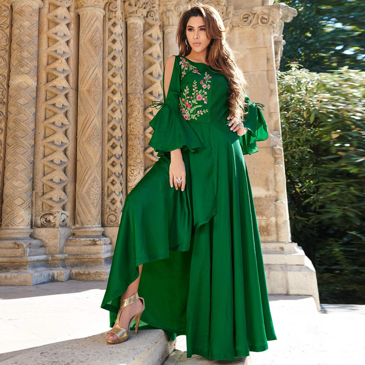 Entrancing Green Colored Partywear Embroidered Silk Satin Gown