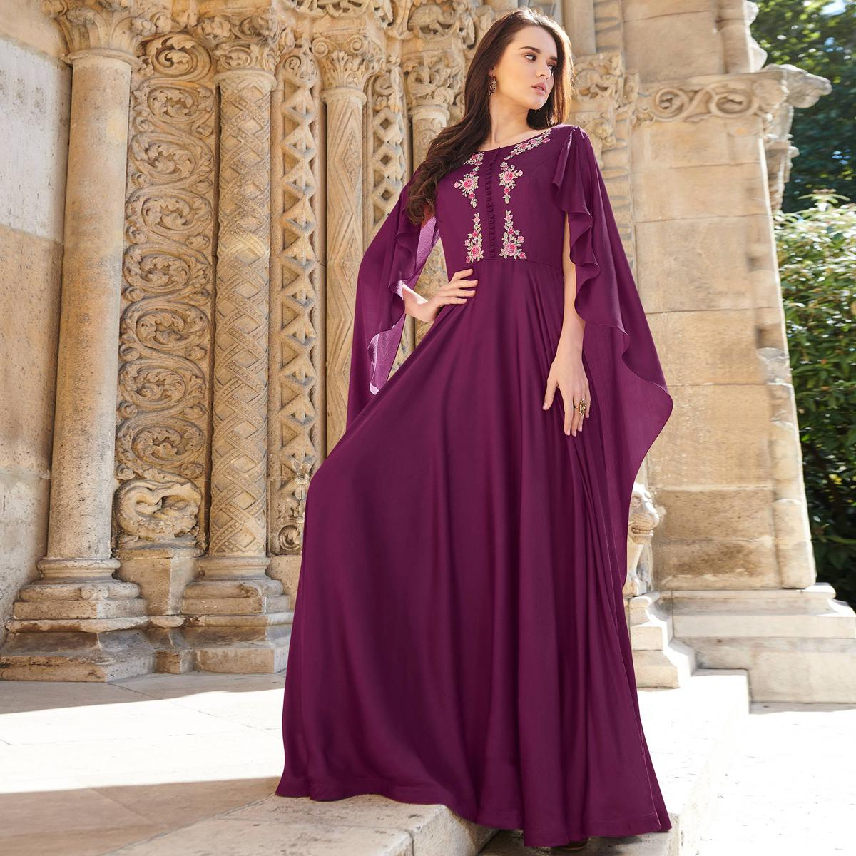 Groovy Violet Colored Partywear Embroidered Silk Satin Gown