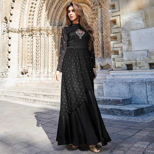 Prominent Black Colored Partywear Embroidered Silk Satin Gown