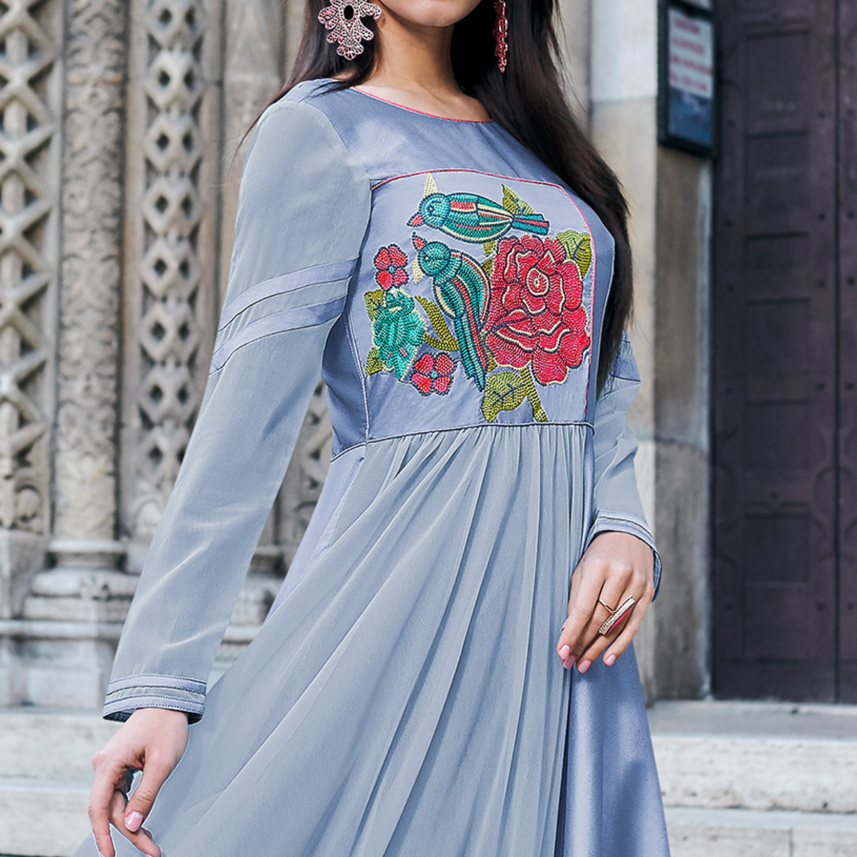 Demanding Light Blue Colored Partywear Embroidered Tapeta Silk Gown