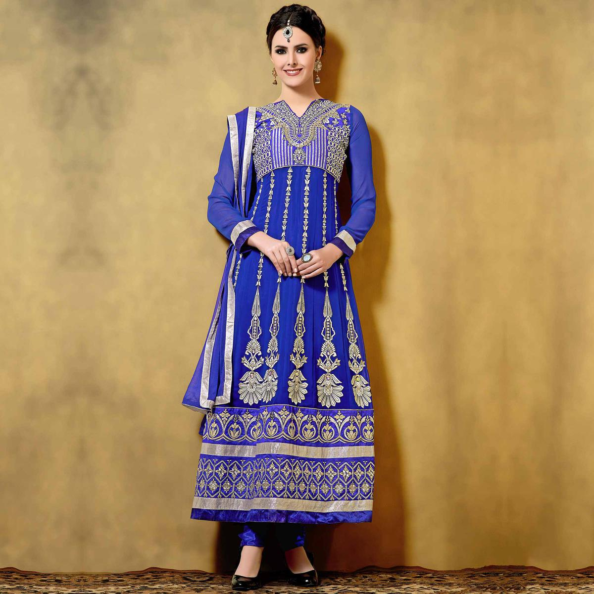 Blue Shimmer Work Georgette Anarkali