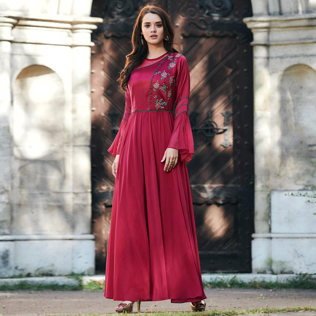 Refreshing Pink Colored Partywear Embroidered Tapeta Silk Gown