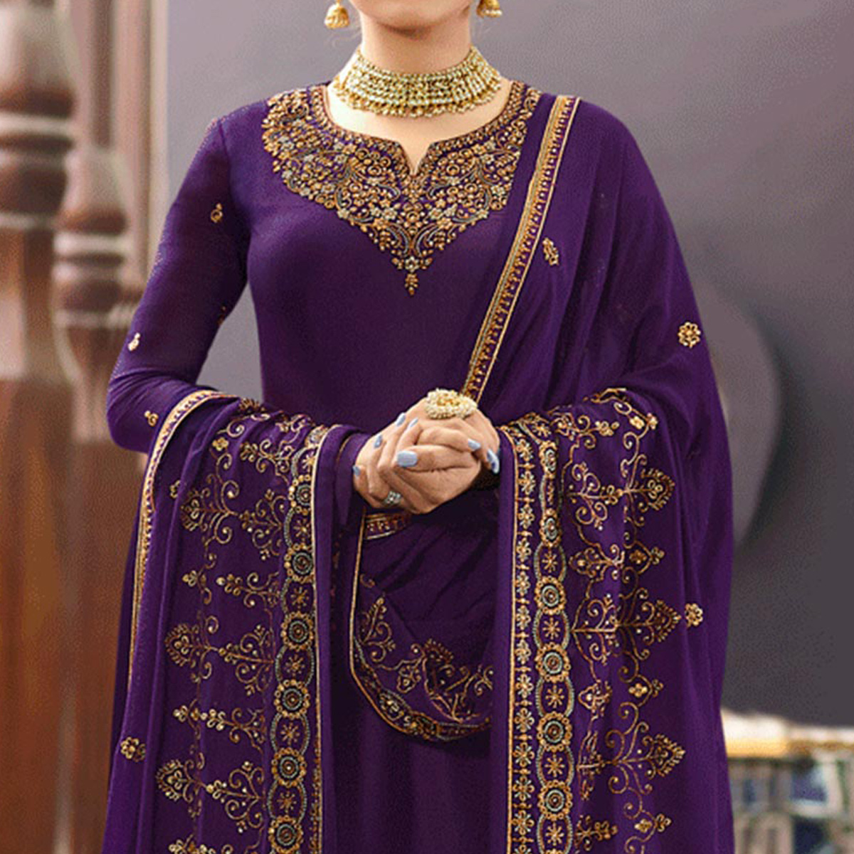 Adorable Purple Colored Partywear Embroidered Satin Georgette Suit