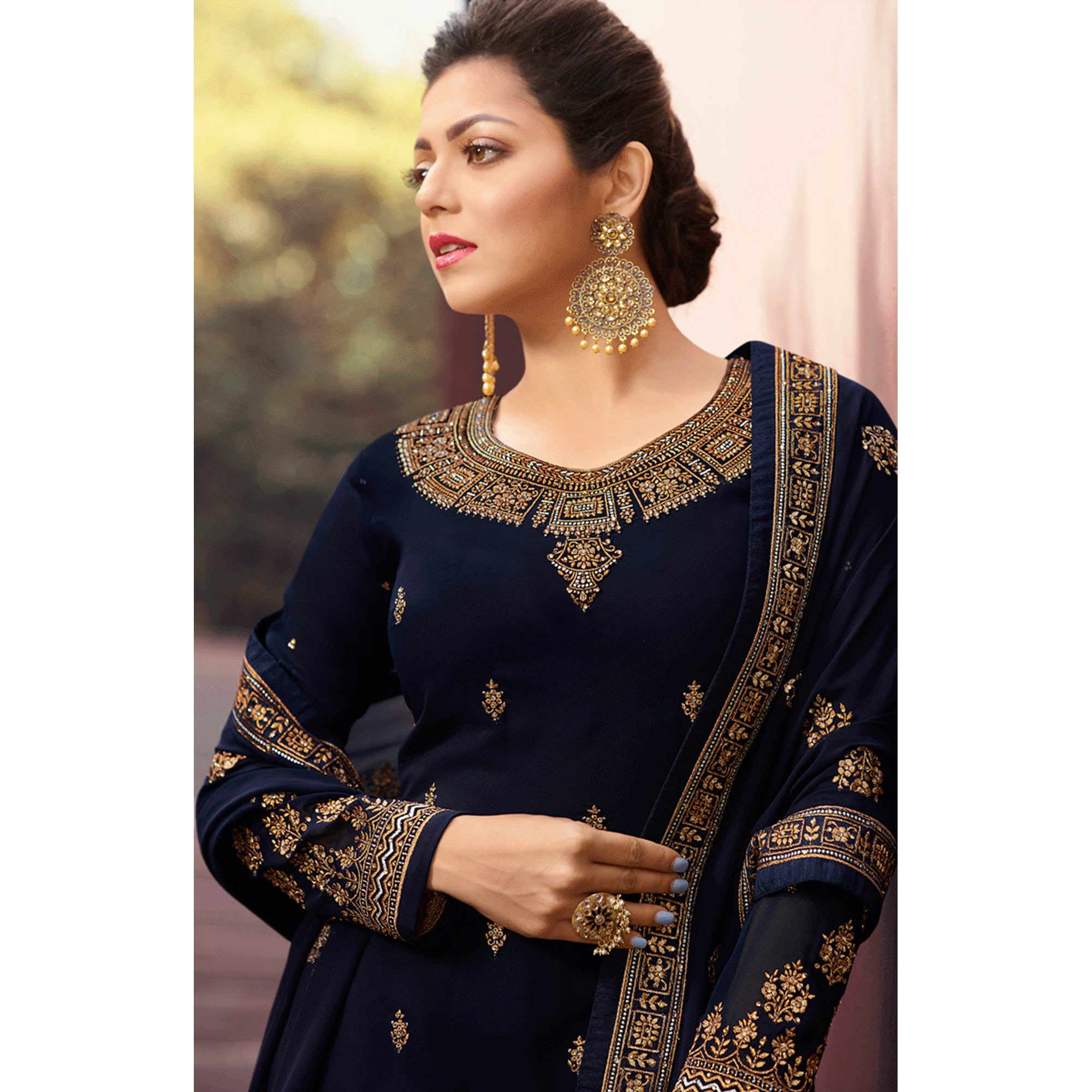 Graceful Navy Blue Colored Partywear Embroidered Georgette Suit