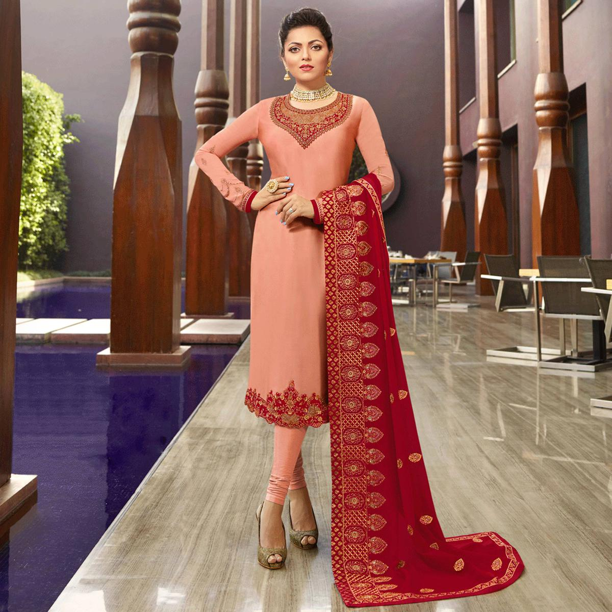 Blooming Peach Colored Partywear Embroidered Satin Georgette Suit