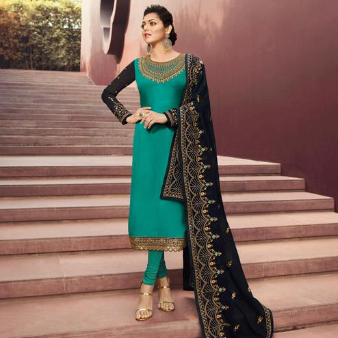 Charming Teal Green Colored Partywear Embroidered Satin Georgette Suit