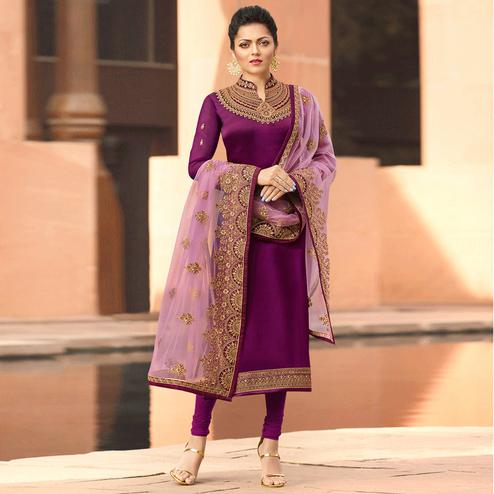 Jazzy Dark Magenta Colored Partywear Embroidered Satin Georgette Suit