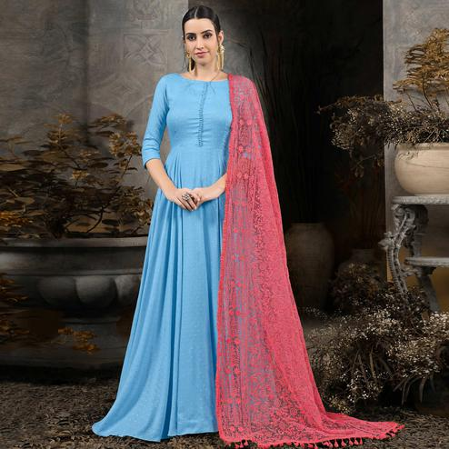 Flamboyant Sky Blue Colored Partywear Embroidered Cotton Anarkali Suit