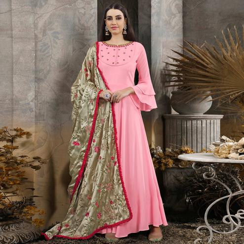 Pretty Soft Pink Colored Partywear Embroidered Cotton Anarkali Suit