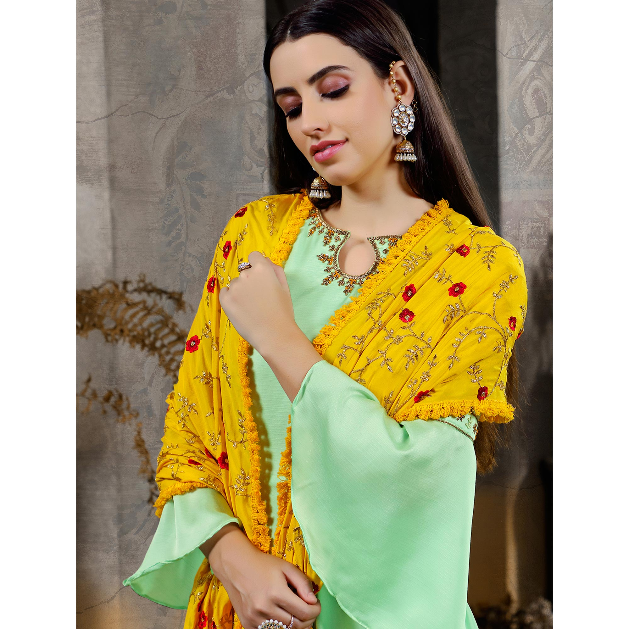 Alluring Mint Green Colored Partywear Embroidered Cotton Anarkali Suit