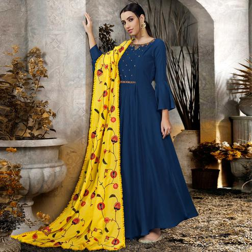 Sensational Navy Blue Colored Partywear Embroidered Cotton Anarkali Suit