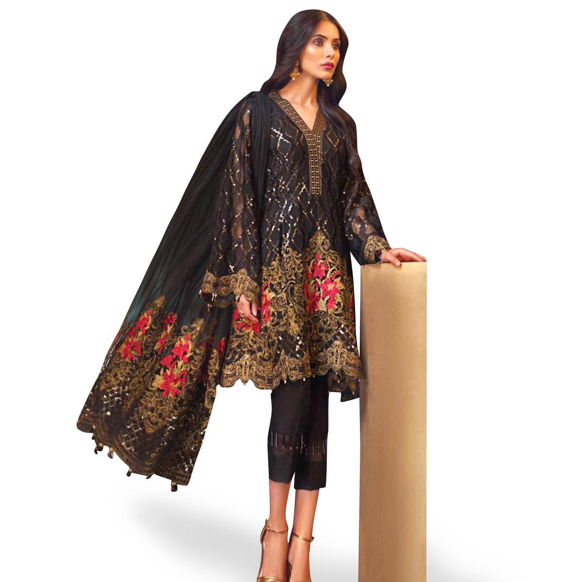 Flamboyant Black Colored Partywear Embroidered Georgette Pant Style Suit