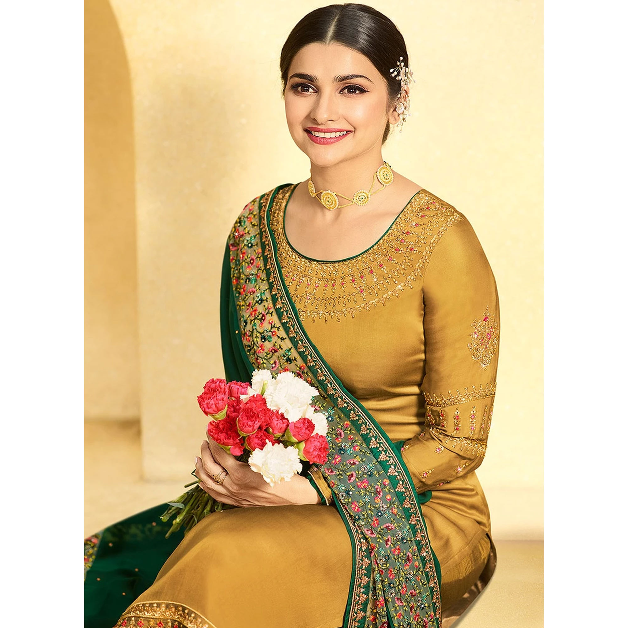 Blissful Golden Yellow  Colored Partywear Embroidered Satin Georgette Suit