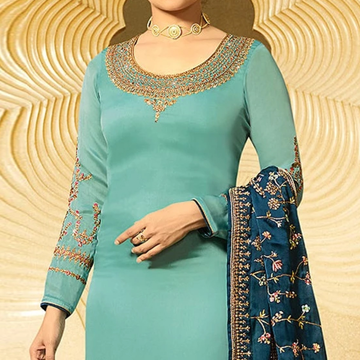 Ideal Light Sky Blue  Colored Partywear Embroidered Satin Georgette Suit