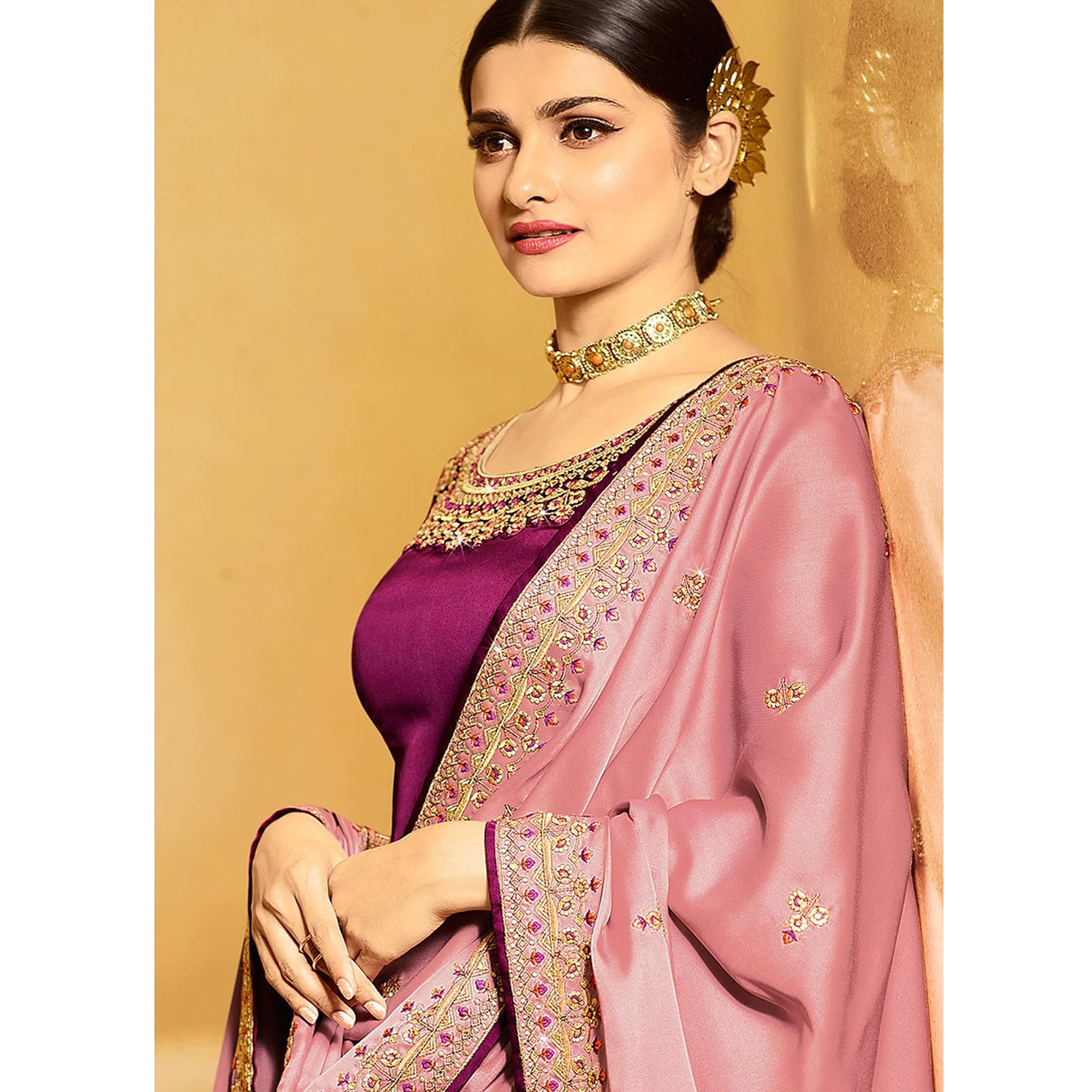 Imposing Purple Color Partywear Embroidered Satin Georgette Suit