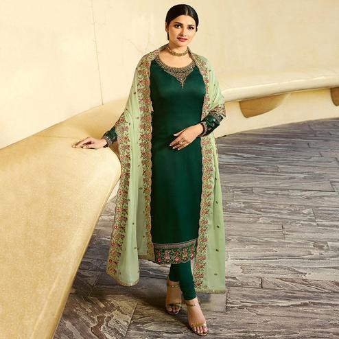 Lovely Dark Green  Colored Partywear Embroidered Satin Georgette Suit