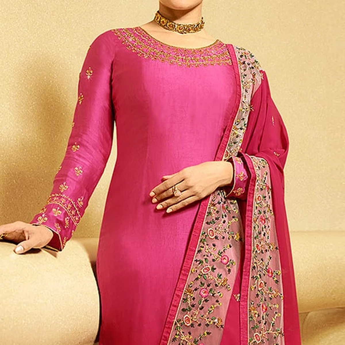 Majesty Pink Colored Partywear Embroidered Satin Georgette Suit