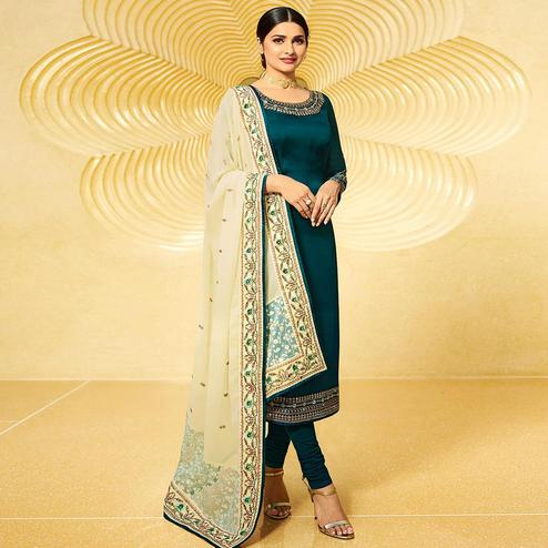 Impressive Teal Blue  Colored Partywear Embroidered Satin Georgette Suit