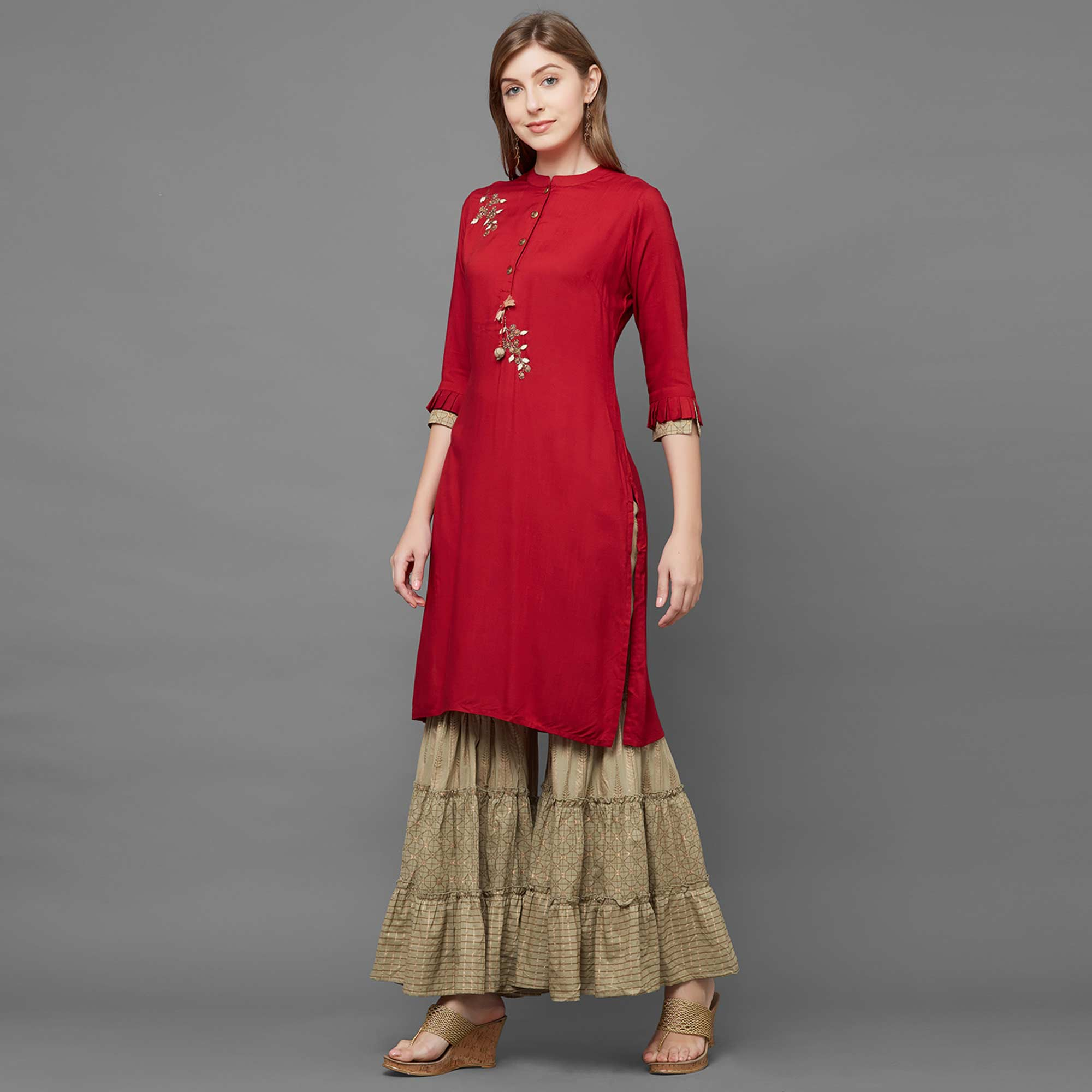 Alluring Red Colored Casual Embroidered Rayon Kurti-Palazzo Set