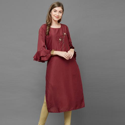 Sensational Maroon Colored Casual Embroidered Cotton Silk Kurti