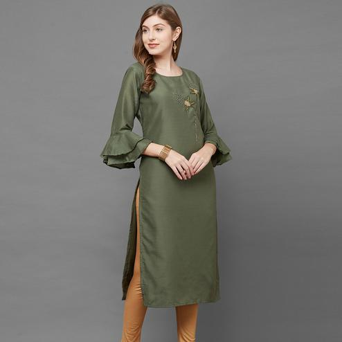 Flaunt Dark Green Colored Casual Embroidered Cotton Silk Kurti