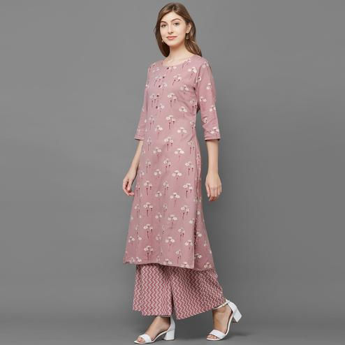 Groovy Light Mauve Colored Casual Printed Cotton Kurti-Palazzo Set