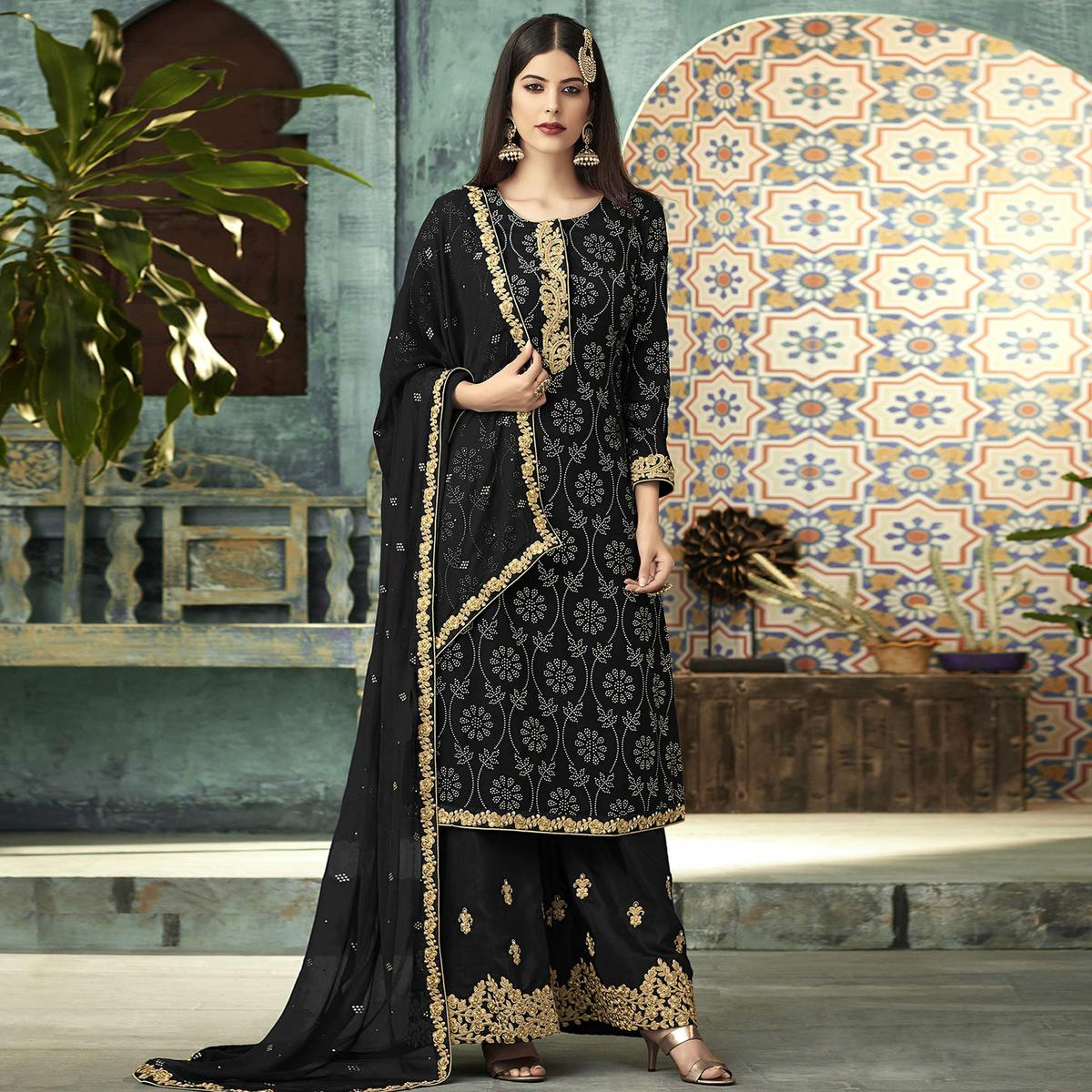 Impressive Black Colored Partywear Embroidered Georgette Palazzo Suit