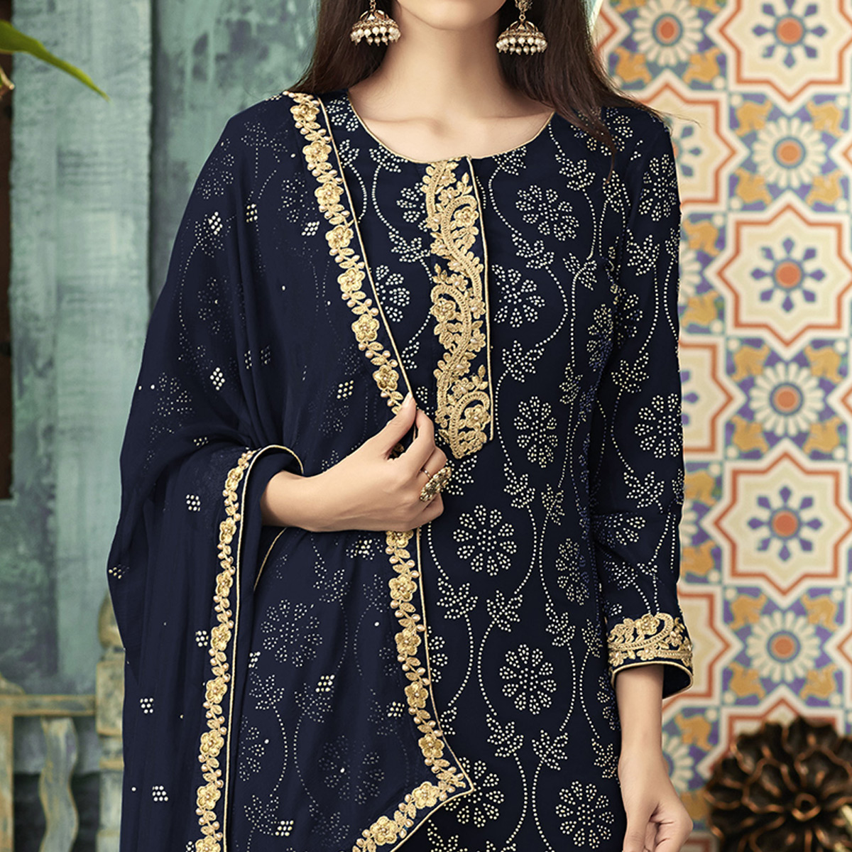 Mesmerising Navy Blue Colored Partywear Embroidered Georgette Palazzo Suit
