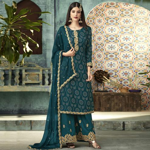 Breathtaking Rama Blue Colored Partywear Embroidered Georgette Palazzo Suit