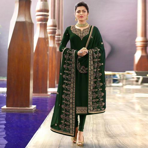 Mesmeric Dark Green Colored Partywear Embroidered Georgette Suit