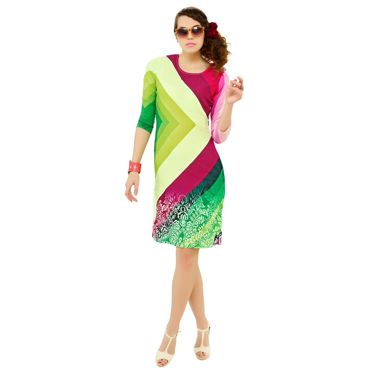 Multicolored Casual Wear Printed Kurti