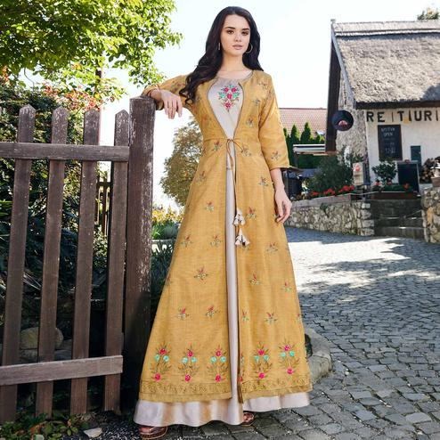 Adorning Gray-Mustard Yellow Colored Partywear Embroidered Cotton Silk Gown