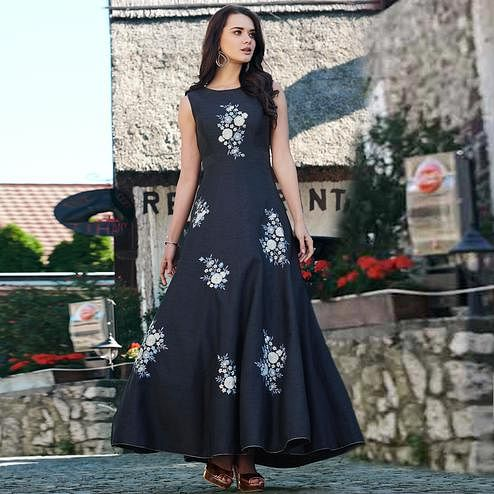 Appealing Navy Blue Colored Partywear Embroidered Cotton Silk Gown