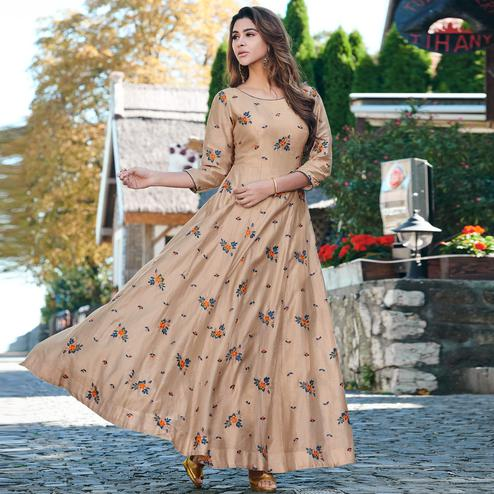 Capricious Light Brown Colored Partywear Embroidered Cotton Silk Gown