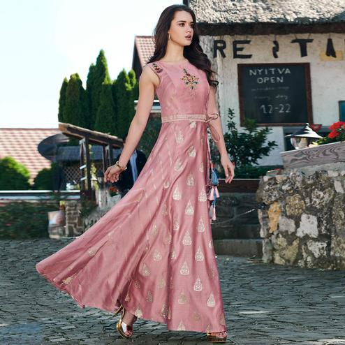 Groovy Pink Colored Partywear Embroidered Modal Silk Gown