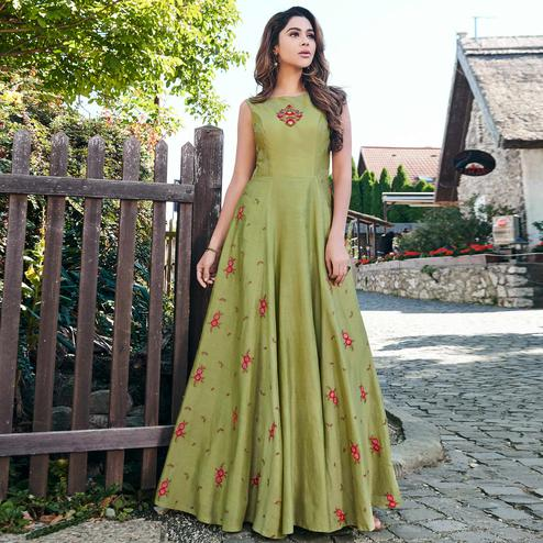 Prominent Green Colored Partywear Embroidered Cotton Silk Gown