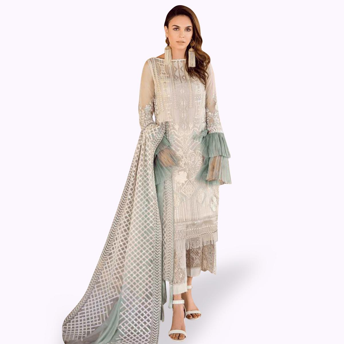 Majesty White Colored Partywear Embroidered Georgette-Net Pant Style Kashmiri Suit