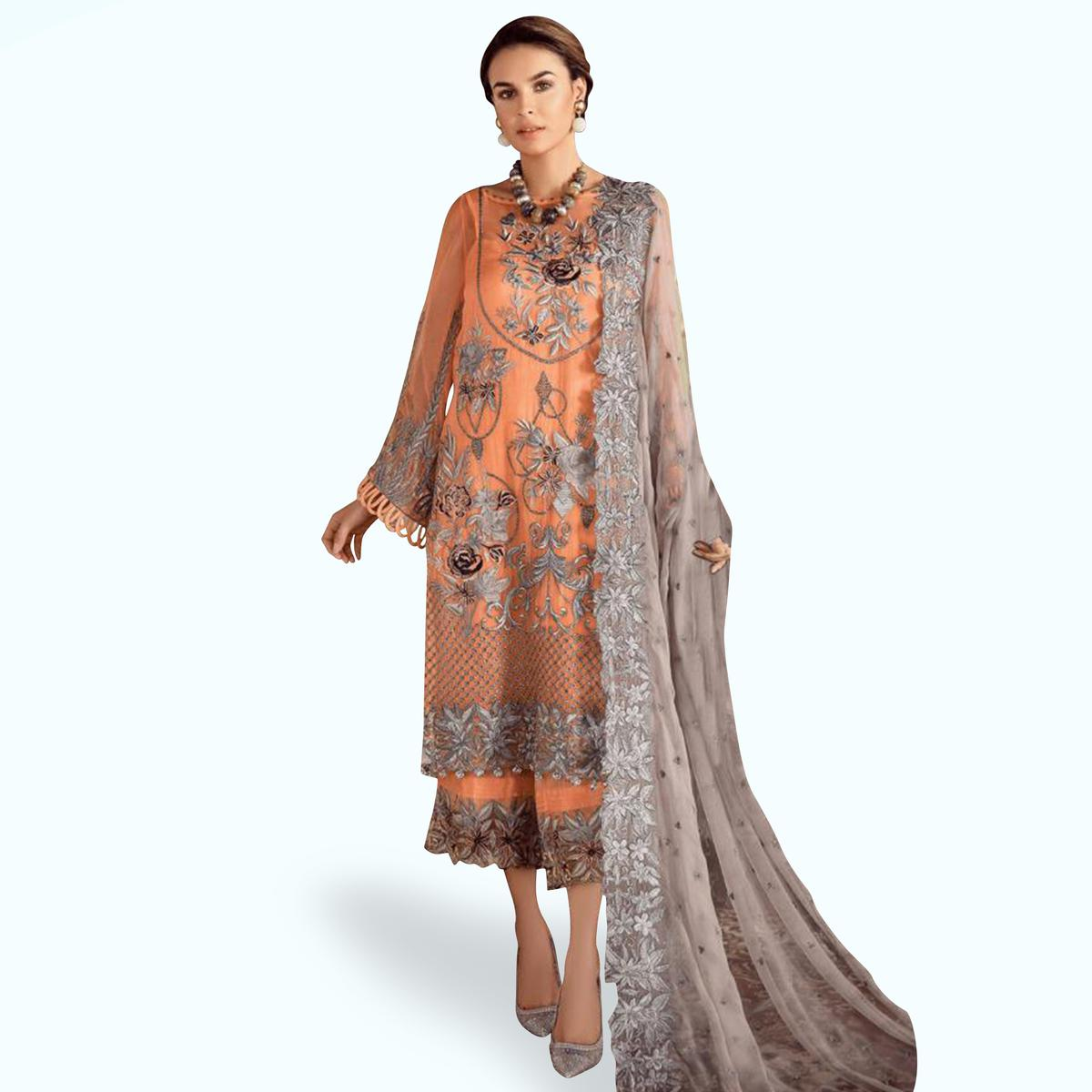 Impressive Orange Colored Partywear Embroidered Georgette-Net Pant Style Kashmiri Suit