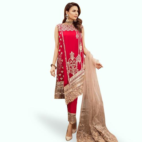 Pleasance Red Colored Partywear Embroidered Georgette-Net Pant Style Kashmiri Suit