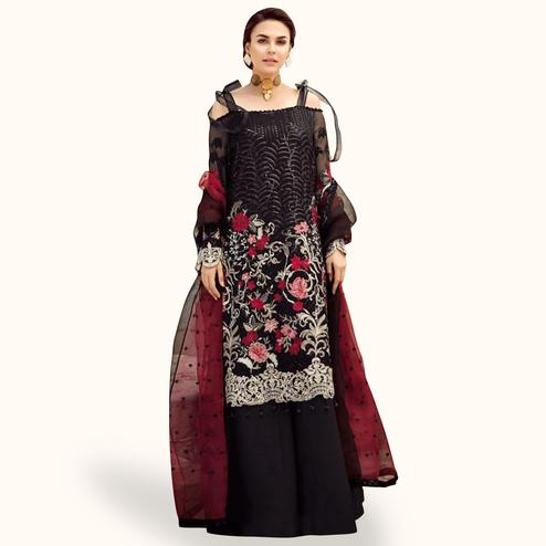Ethnic Black Colored Partywear Embroidered Georgette-Net Palazzo Suit