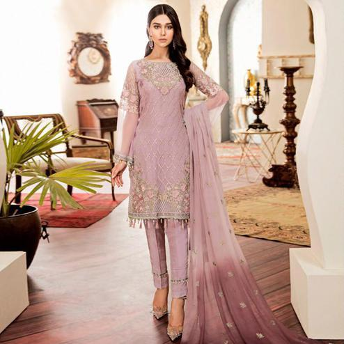 Energetic Pastel Pink Colored Partywear Embroidered Georgette-Net Pant Style Kashmiri Suit