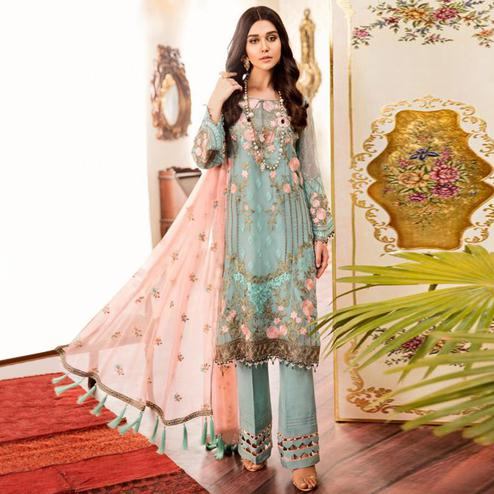 Exceptional Aqua Blue Colored Partywear Embroidered Georgette-Net Palazzo Suit